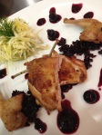 Rosemary roasted quail, celery root, dill, pineapple remoulade, braised cabbage and blueberry compote