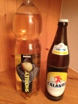 sparkling apple juice with mineral water and Calanda beer