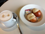 Coffee and laugenbrotchen at airport